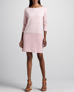 Joan Vass Striped Interlock Dress