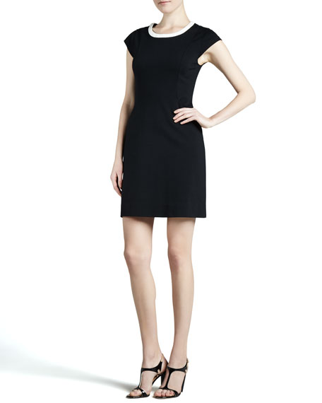 daria cap-sleeve colorblock dress