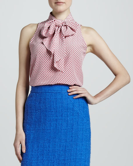 lillian sleeveless bow-neck blouse