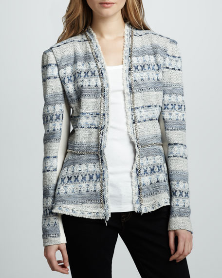 Chain-Trim Tweed Jacket