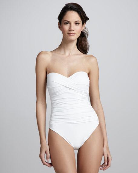 Samba Solids Bandeau One-Piece, White