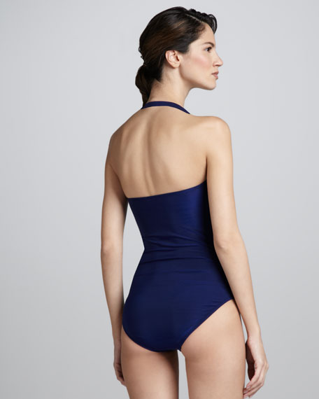 Samba Solids Bandeau Maillot Swimsuit, Ink Blue