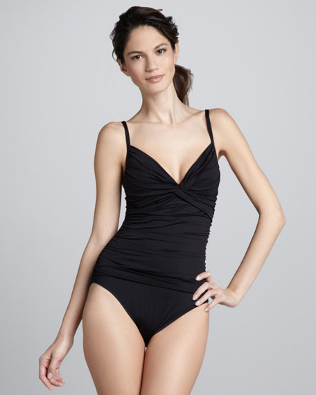 Samba Solids Ruched Maillot Swimsuit