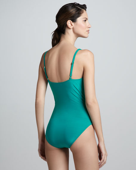 Shimmery Ruch-Front Bow Maillot Swimsuit