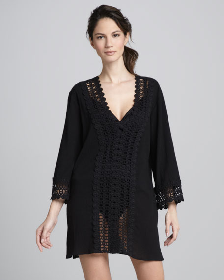 Crochet-Trim Coverup Tunic, Black