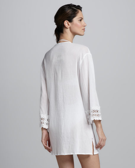 Crochet-Trim Tunic Coverup, White