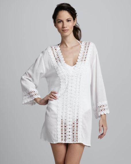 Crochet-Trim Tunic Coverup, White