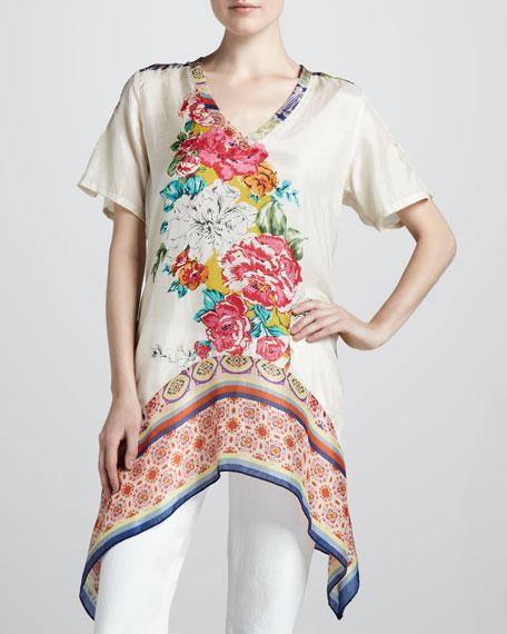 Floral-Print Georgette Tunic, Print A