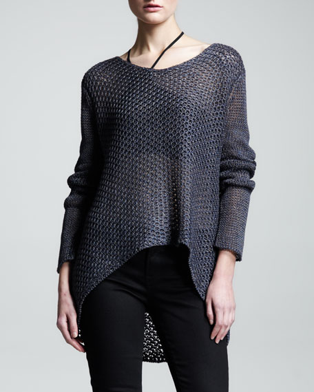 Asymmetric Loose-Knit Pullover