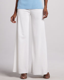 Misook Knit Palazzo Pants, White