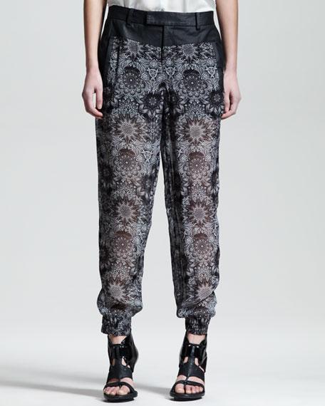 Mandala-Print Viscose Pants