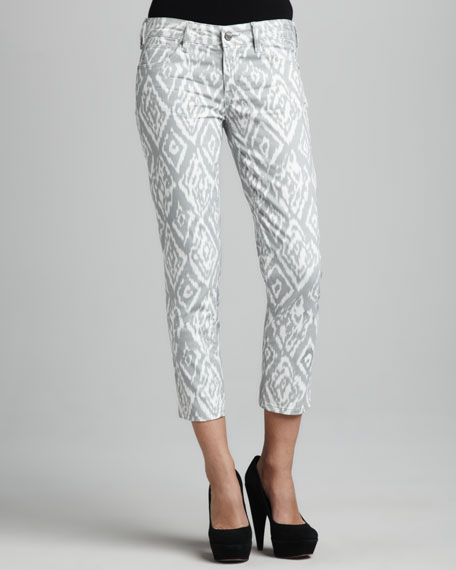 Cropped Ikat-Print Jeans
