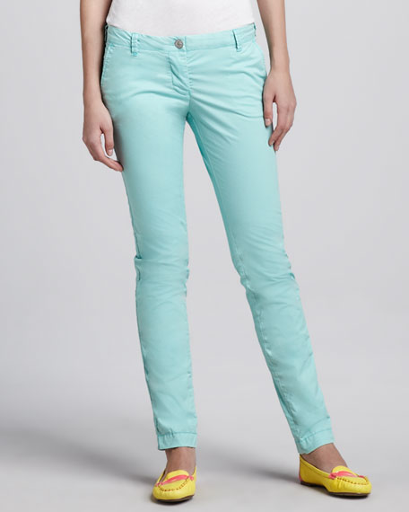 Low-Rise Chino Pants, Turquoise