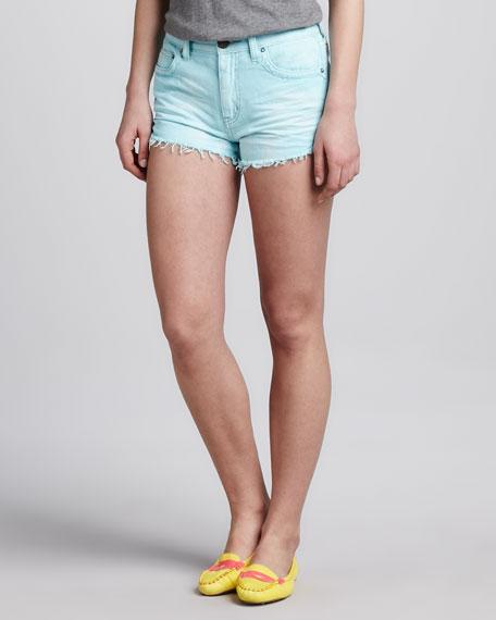 Dolphin Cut-Off Shorts, Light Blue