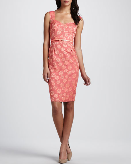 Belted Floral-Jacquard Dress
