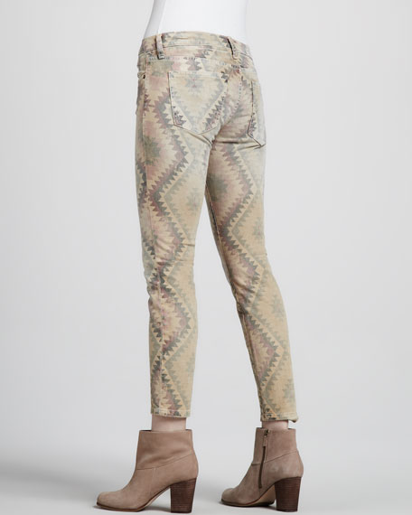 The Low-Rise Stiletto Southwestern-Print Jeans