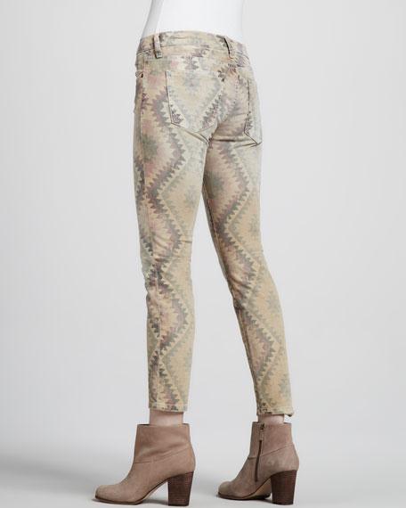 The Low-Rise Stiletto Southwestern-Print Jeans