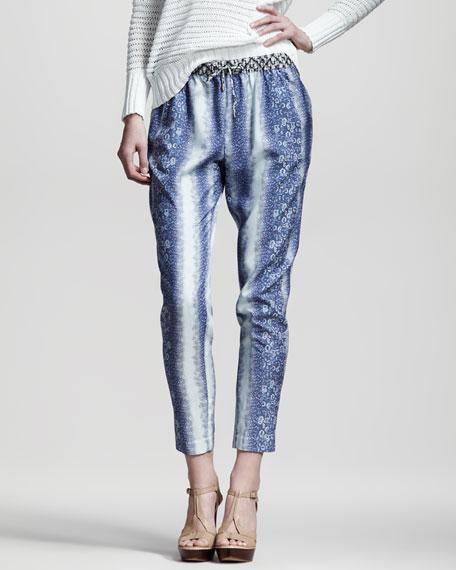 Lizard-Print Slouchy Pants