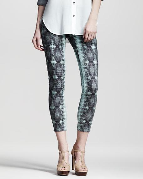 Lizard-Print Skinny Pants