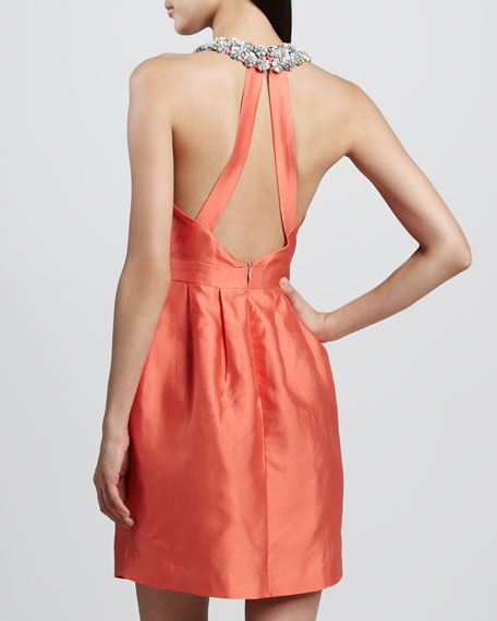 Helen Bejeweled Halter Dress