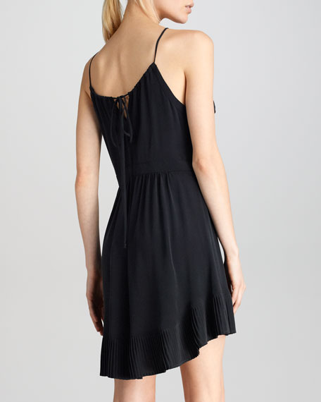 Pleat-Hem Halter Dress