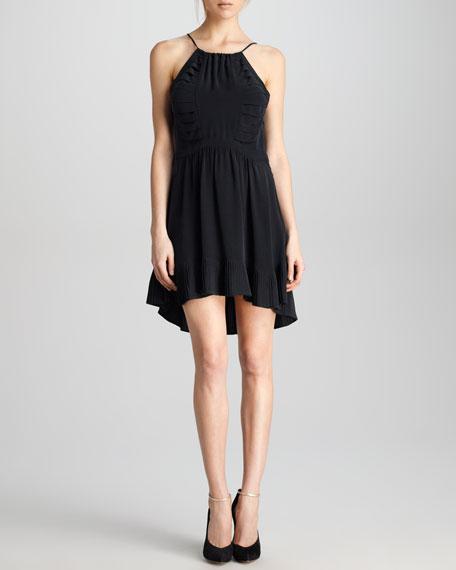 Pleat-Hem Halter Dress