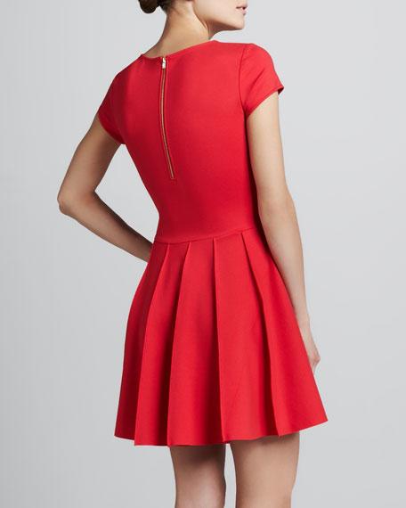 Tara A-Line Ponte Dress, Red
