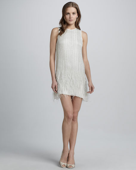 Allegra Beaded Feather-Hem Dress