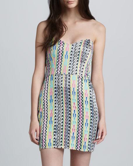 Striped Tribal Strapless Dress
