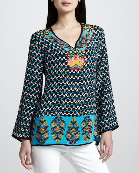 Monica Border-Print Silk Tunic, Women's