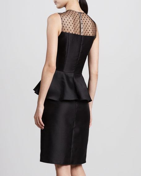 Dot-Print Peplum Cocktail Dress