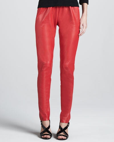Neiman Marcus Colored Leather Leggings
