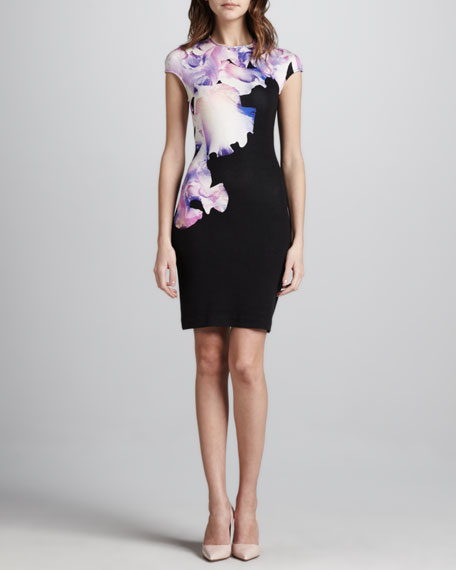 Orchid-Print Cap-Sleeve Dress