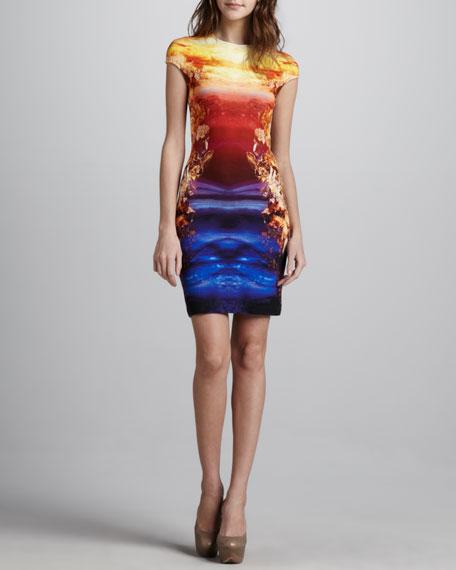 Symmetric-Print Jersey Dress