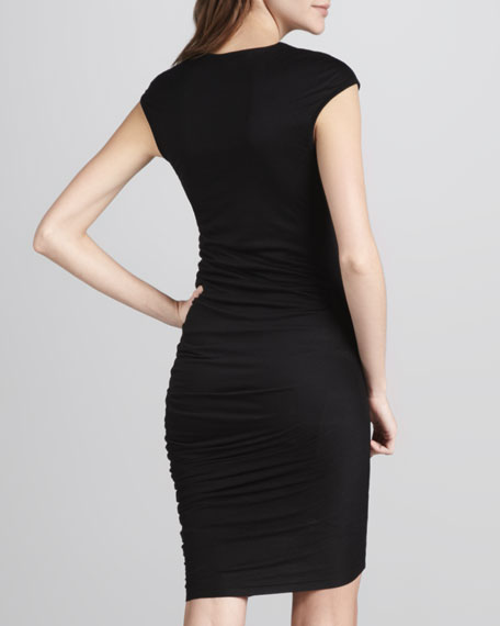 Zip-Yoke Ruched Dress, Black