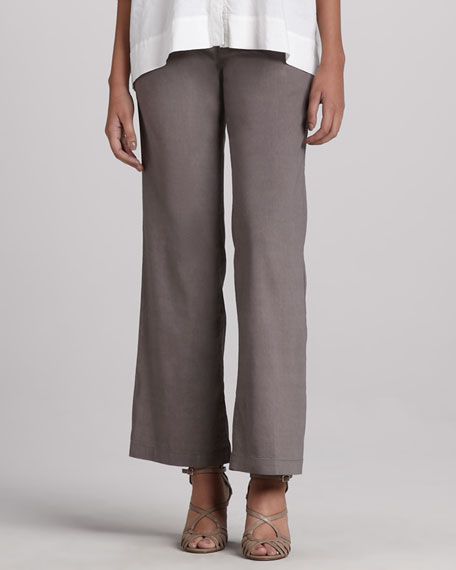 Linen-Blend Stretch Straight-Leg Trousers With Yoke