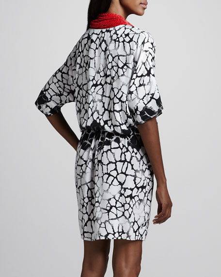 Printed Dress with Necklace, Women's