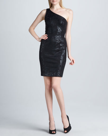 One-Shoulder Foil Sheath Dress