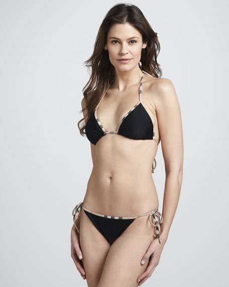 Check-Trim String Bikini, Black