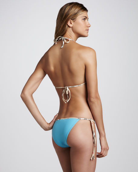Check-Trim String Bikini Swimsuit, Turquoise