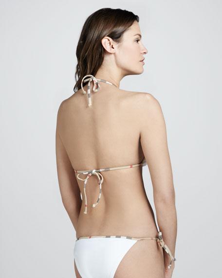 Check-Trim String Bikini, White