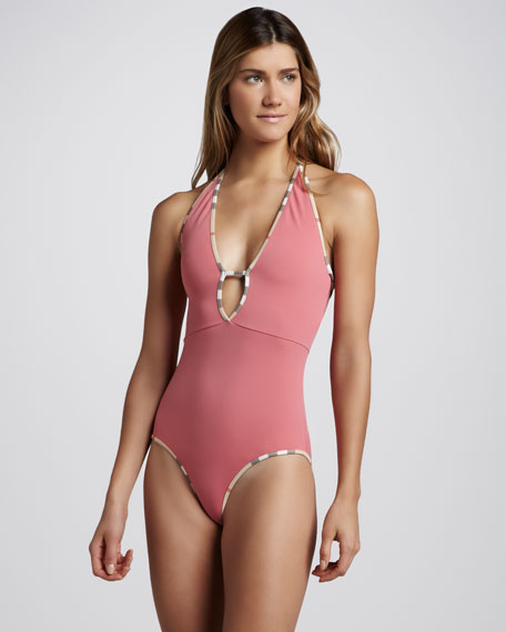 Check-Trim Keyhole One-Piece Swimsuit