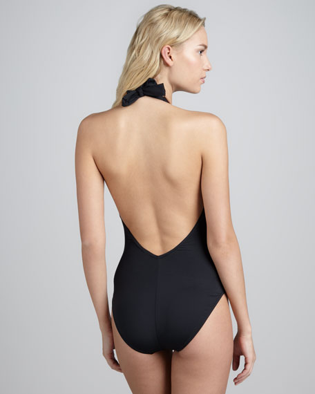 Halter Low-Back One-Piece Swimsuit