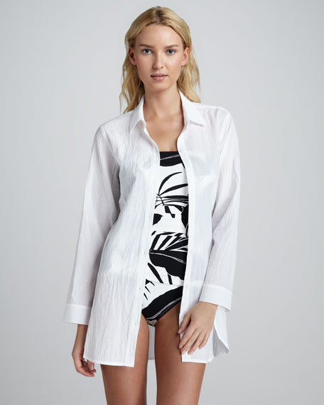 Crinkled Boyfriend Coverup
