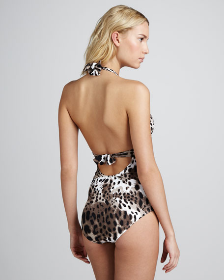 Skin City Animal-Print Halter One-Piece