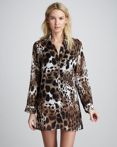 Skin City Printed Boyfriend Coverup