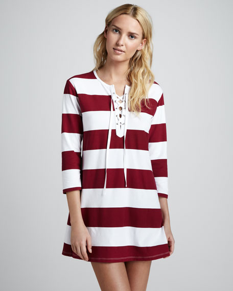 Striped Lace-Up Tunic, Sangria
