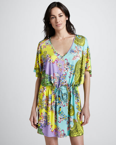 Floral-Print Drawstring Tunic