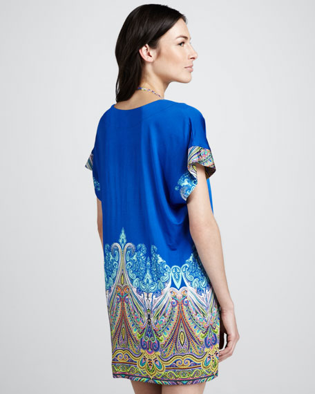 Paisley-Print Jersey Coverup