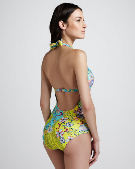 Paisley Floral-Print One-Piece